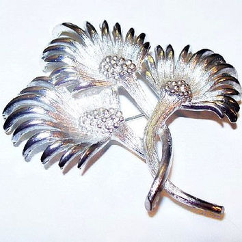 "Lisner Thistle Flower Brooch Signed Silver Plated Metal BIG Bold 2 3/4"" Vintage 1950s"