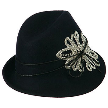 Ladies Wool Felt Stones Fedora - Navy OSFM