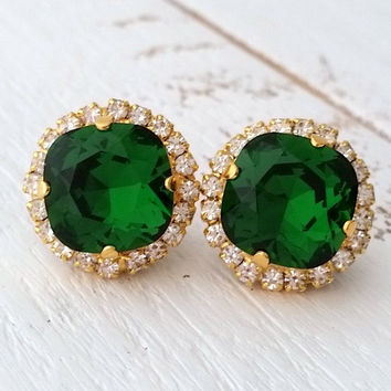 Emerald green Crystal stud earrings, Bridal earrings, Bridesmaids gift, Dark green earrings, Gold or silver crystal earrings, Stud or drop