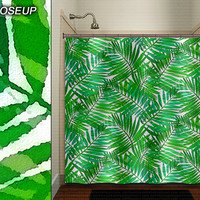 watercolor leaves green fern leaf shower curtain bathroom decor fabric kids bath window curtains panels valance bathmat
