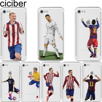 ciciber Soccer Cartoon Cristiano Ronaldo messi Neymar soft silicone phone cases cover for iphone 6 6S 7 8 plus 5S SE X Capinha