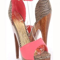Coral Faux Leather Woven Ankle Straps Wood Wrap Platform Heels @ Amiclubwear Heel Shoes online store sales:Stiletto Heel Shoes,High Heel Pumps,Womens High Heel Shoes,Prom Shoes,Summer Shoes,Spring Shoes,Spool Heel,Womens Dress Shoes,Prom Heels,Prom Pumps,