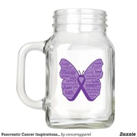 Pancreatic Cancer Inspirational Butterfly Mason Jar