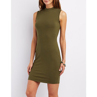 Mock Neck Midi Bodycon Dress