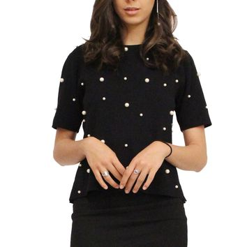 Pearl Stud Round Neck Short Sleeves Sweater Knit Top