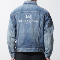 Balenciaga New fashion back letter print long sleeve jacket coat Blue