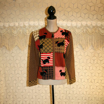 Vintage Novelty Sweater Scottie Dog Zip Up Sweater Womens Cardigan Red Brown Plaid Patchwork Sweater Small Medium Susan Bristol Dog Clothing
