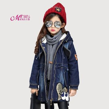 Trendy New Winter Girls Denim Jacket Children Clothing Plus Thick Velvet Hooded Outwear Long Warm Girls Clothes Coats 5 7 9 11 13 Years AT_94_13