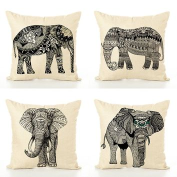Elephant Style  linen Square pillow Covers home room bedding hotel room bedding hotel type Throw Pillowcase45*45cm