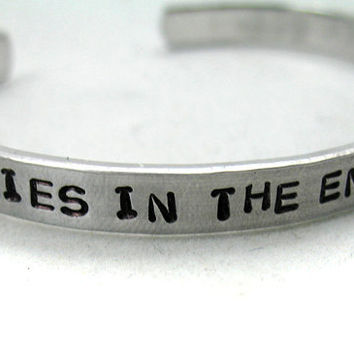 Hand Stamped Doctor Who Bracelet - We're All Stories In the End.  Just Make It a Good One.