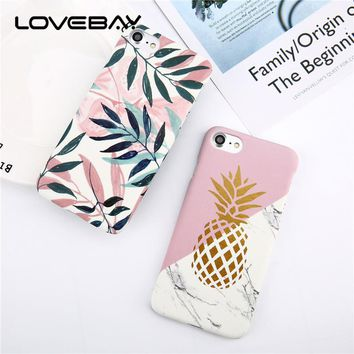 Lovebay Phone Case For iPhone 6 6s Plus Fashion Cartoon Pineapple Leaf Colorful Geometry Ultra Thin Hard PC For iPhone 6s Cover