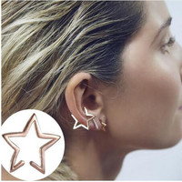 ED996 1pcs Plating Gold Silver and black Style Punk Star Design Clip Earrings Alloy Ear Cuff