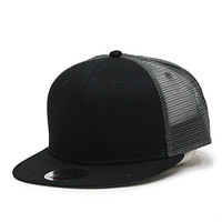 Plain Cotton Twill Flat Brim Mesh Adjustable Snapback Trucker Baseball Cap (Black/Black/Charcoal)
