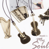 Cute Kawaii Golden Metal Music Bookmarks Piano Guitar Trumpet Designs