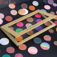OutTop Shimmer Nature  Empty Magnetic Palette Makeup Palette Pad Black Large Pattern DIY Palette New Makeup Base 2017 June7