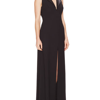 Sleeveless Lapel Gown with Slit