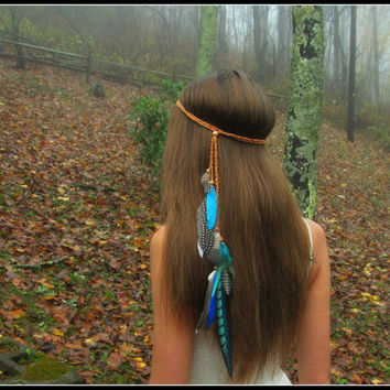 Turquoise feather headband, Native, American, style, HeadBand, wedding, feather, headpiece, hair,  pocahontas, nature, costume, boho heaband