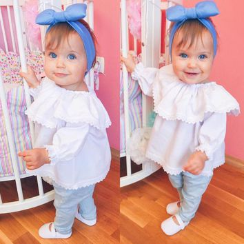 US Stock Boutique Newborn Kids Baby Girl Lace Off Shoulder Tops T-shirts Clothes