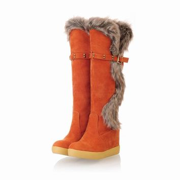 Studded Fur Tall Boots Platform Shoes for Women 8923