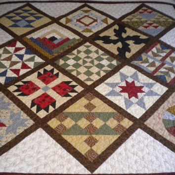 Civil War Reproduction Quilt, Underground Railroad Quilt, Sampler Quilt, Traditional Throw Quilt, Large wall hanging quilt, Sofa throw quilt