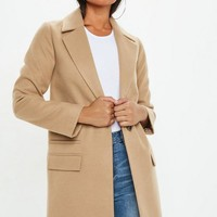 Missguided - Camel Button Front Slim Coat