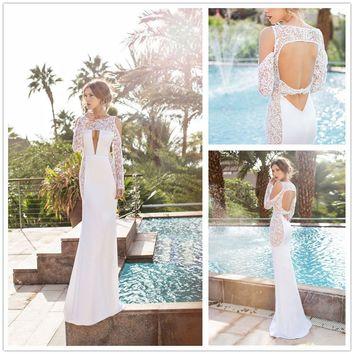Lace Sexy Stylish Backless Long Sleeve Prom Dress One Piece Dress [8358432385]