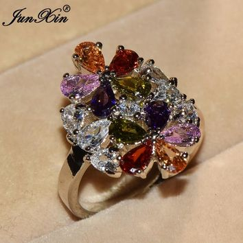 JUNXIN Luxury Big Rainbow Flower Ring Boho Female Party Ring Promise Engagement Rings For Women Wedding Band Fashion Jewelry