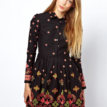 ASOS Skater Dress With Floral Geo Embroidery