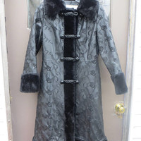 1960  unique    womens black princess style coat with embroidered  floral pvc vinyl faux leather  faux fur trim   Lingenfelter   brill