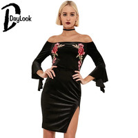 Fashion Vintage Velvet Dress Women Sexy Off The Shoulder Embroidery Floral Print Bodycon Dress