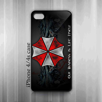 iPhone 4 4s Hard Case - Cool Resident Evil Umbrella Corporation Logo  - iPhone Cover IP4 (Black / White Or Clear Case Color)