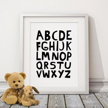 ABC Alphabets Canvas Painting Nursery Posters Prints Black and White Wall Art Pictures for Kids Baby Room Home Decor No Frame