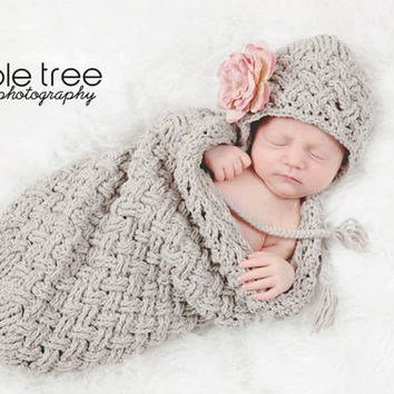 Set of 2 Crochet Patterns for Diagonal Weave Baby Bonnet and Cocoon Set - multiple sizes - Welcome to sell finished items