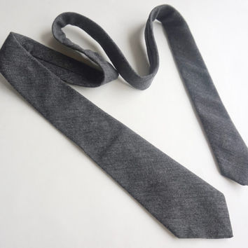 Vintage Wool Tie,Grey Tie,MADE IN CANADA,Charcoal Grey Wool Tie,Wool Tie,Sears Premiere Tie,Casual Tie,Solid Color Tie,Retro Mens Ties