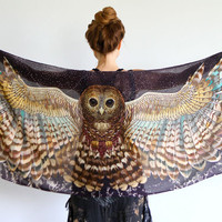Owl art cotton scarf, NIGHT version, Hand painted Owl Wings, stunning unique and useful, perfect gift