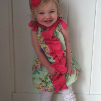 Girls Mint Green Floral Pillowcase Dress with Fuchsia Ruffle. Amy Butler Fabric. Perfect for Spring, Summer, Birthday. Easter Toddler baby