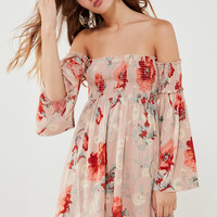 Ecote Elora Off-The-Shoulder Smocked Dress | Urban Outfitters