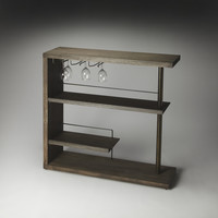 Broadway Modern Bar Cabinet in Wood and Stainless Steel
