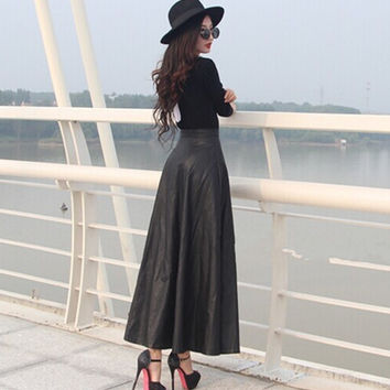Woman Faux Leather High Waist Pleated Skirt Long Warm Skirts