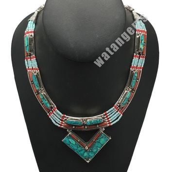 Ethnic Tribal Nepalese tribal Red Coral & Turquoise Inlay Boho Necklace, E217