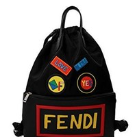 Fendi Unisex Leather Nylon Logo Print Drawstring Backpack Black  Fendi bag