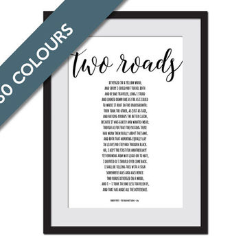 The Road Not Taken - Robert Frost - Motivational Art Print - Typographic Art - Inspirational Poster - The Road Less Traveled - Poetry Art