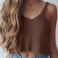 2016 female Spaghetti Strap Crop Tops sexyknit crop top women cheap good quality knit camisole summer top clothing tank vest 41
