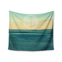 "Robin Dickinson ""Row Your Own Boat"" Teal Ocean Wall Tapestry"