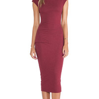 James Perse Sleeveless Tucked Dress in Burgundy