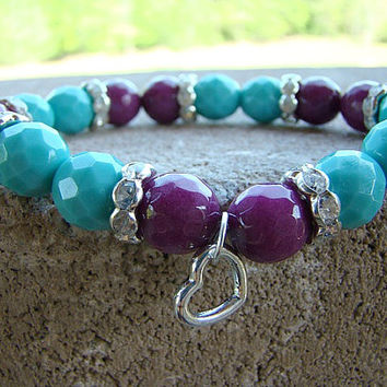 Stretch Bracelet, Gemstone Stretch Bracelet, Bohemian, Gypsy, Charm Bracelet, Summer Jewelry, Gift for Mom, Gift Ideas for Mom, Mothers Day