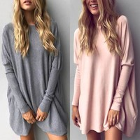 Pure color long sleeve round collar thin easy recreational sweater