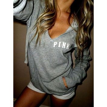 PINK:Women's Fashion T-shirts Long Sleeve Print Hoodies