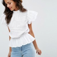 ASOS Casual Short Sleeve Victoriana Blouse at asos.com