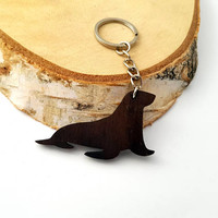 Wooden Sea lion Keychain, Walnut Wood, Animal Keychain, Environmental Friendly Green materials